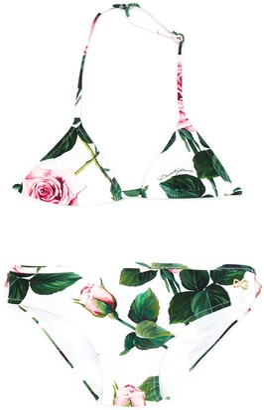 Dolce & Gabbana Kids Tropical Rose Print Bikini
