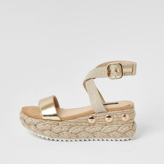 River Island Womens Gold two part espadrille wedge sandals