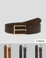 Asos Smart Leather Belt 3 Pack SAVE