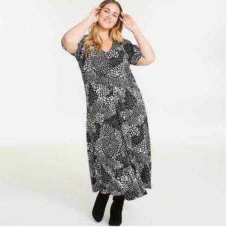 Joe Fresh Women+ Print V-Neck Dress, Black (Size 16)