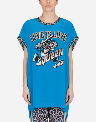Dolce & Gabbana Crepe De Chine Tank Top With Leopard Jungle Sport Print