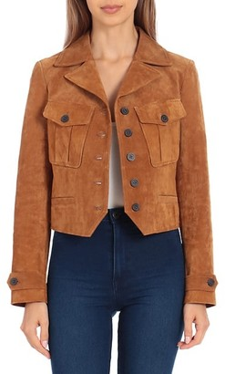 AVEC LES FILLES Long-Sleeve Leather Jacket