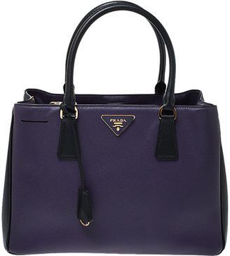 Prada Purple/Black Saffiano Lux Leather Medium Galleria Tote