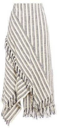 3.1 Phillip Lim Asymmetric Fringe-trimmed Striped Cotton-blend Boucle Maxi Skirt