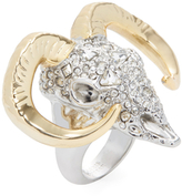 Alexis Bittar Crystal Encrusted Horned Ram Statement Ring