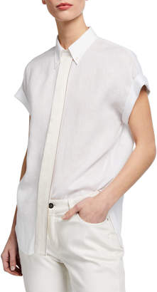 Brunello Cucinelli Short-Sleeve Linen Blouse with Satin Placket