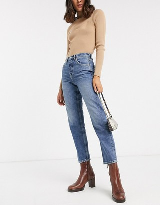 Topshop Editor straight leg jeans in mid wash
