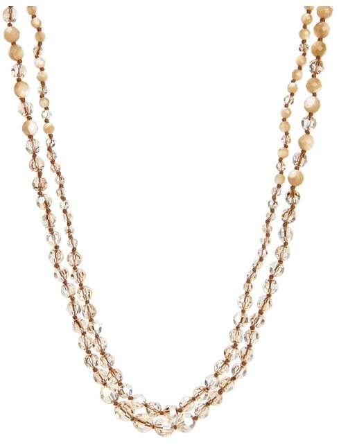 Chan Luu Natural MOP and Crystal Mix Double Strand Necklace (Natural MOP Mix/Golden Shadow) - Jewelry