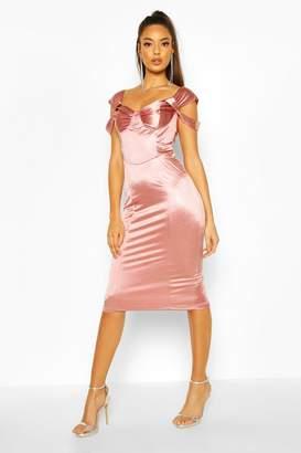 boohoo Stretch Satin Bodice Detail Midi Dress
