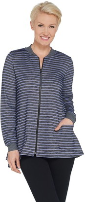 Logo by Lori Goldstein Striped French Terry Zip Front Jacket