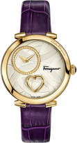 Salvatore Ferragamo Coure 39mm Diamond-Dial Watch w/ Leather Strap, Purple
