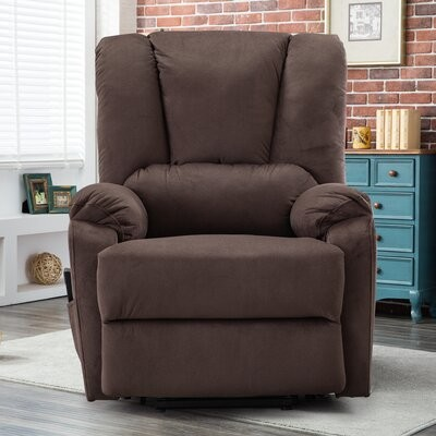 """Thumbnail for your product : Red Barrel Studio Burston 34"""" Wide Power Swivel Zero Gravity Recliner Body Fabric: Chocolate Polyester Blend"""