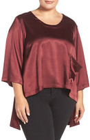 Melissa McCarthy Charmeuse High/Low One-Pocket Tee (Plus Size)