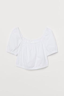 H&M Short Cotton Top - White