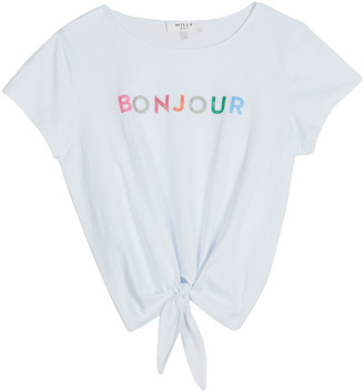 Milly Girl's Rainbow Bonjour Tie-Front T-Shirt, Size 7-16