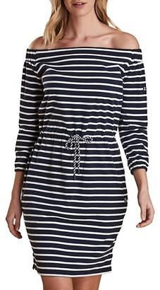 Barbour Waveson Off-The-Shoulder Striped Dress