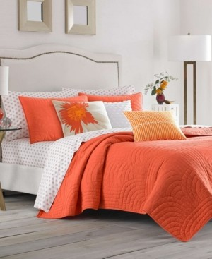 Trina Turk Palm Desert Ladybug Orange Full/Queen Quilt Set Bedding