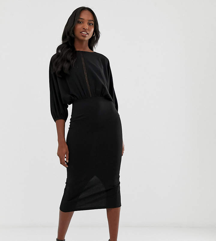Asos Tall DESIGN Tall oversize batwing midi pencil dress with ladder trim