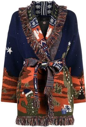 Alanui Western landscape fringed cardigan