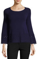 Ramy Brook Diana Laser-Cut Long-Sleeve Top, Navy