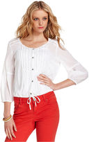 DKNY Top, Three-Quarter-Sleeve Peasant