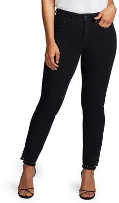 NYDJ CURVES 360 BY Stud Detail Slim Straight Leg Jeans (Regular & Plus Size)