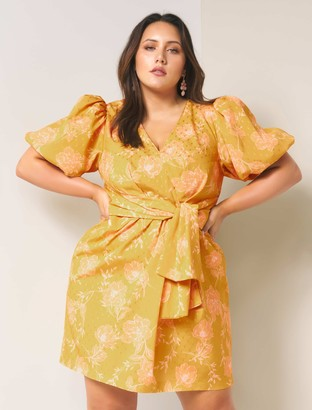 Forever New Esme Curve Puff Sleeve Dress - Ochre spray Floral - 22