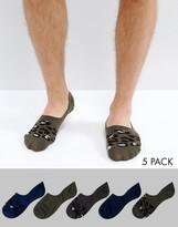 Asos Invisible Socks In Leopard Print 5 Pack
