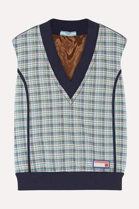Prada Checked Jacquard-knit Sweater - Teal