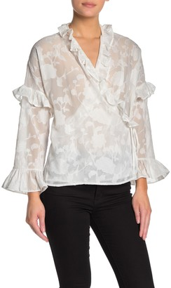 French Connection Clarita Ruffle Trim Wrap Top