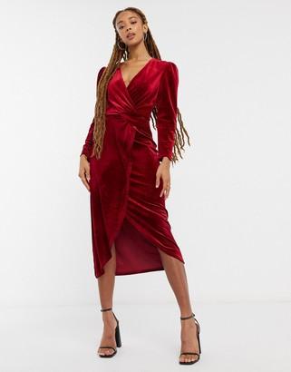 Miss Selfridge velvet wrap mini dress in red