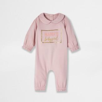 River Island Baby Pink 'Mamas' baby grow