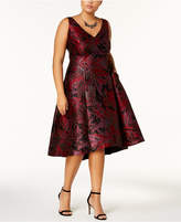 Adrianna Papell Plus Size Jacquard Fit & Flare Dress