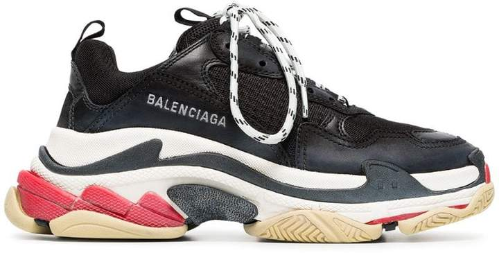 Balenciaga black triple s leather sneakers