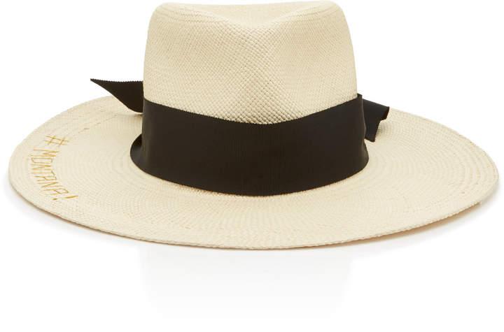 c88391bec Studio Texas Babe Embroidered Straw Panama Hat