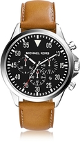 Michael Kors Gage Silver Tone Stainless Steel Case and Cognac Leather Strap Men's Chrono Watch