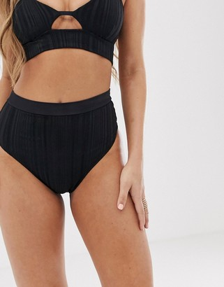 Tavik ribbed high waisted bikini bottoms in black