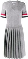 Thom Browne pointelle stitch V-neck pleated dress