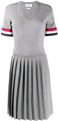 Thom Browne pointelle stitch V-neck pleated dress