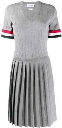 Thom Browne V-neck pleated dress
