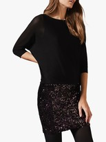 Phase Eight Geonna Sequin Skirt Knit Dress, Black