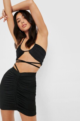 Nasty Gal Womens Strappy Ruched Bodycon Mini Skirt - Purple - 8
