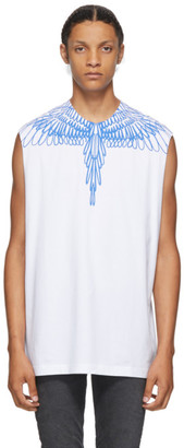 Marcelo Burlon County of Milan White and Blue Pictorial Wings Sleeveless T-Shirt