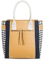 Cesca Women's Medium Tote with Front Zip Pocket and Checkered Gussets Detailing - Neutral