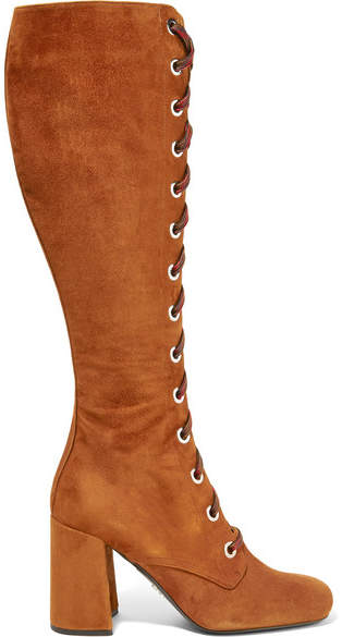 Prada Lace-up Suede Knee Boots - Brown