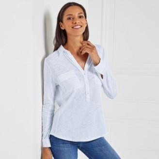The White Company Cotton Half Button Long Sleeve Jersey Shirt, Chalk Blue, 18