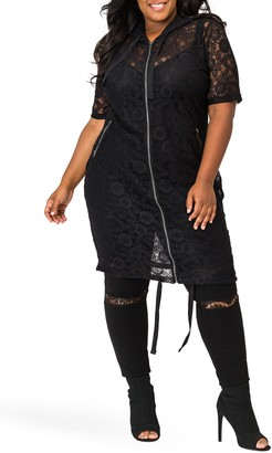 Poetic Justice Kenny Zip-Up Sheer Lace Hooded Jacket