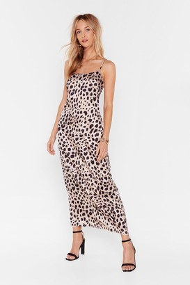 Nasty Gal Womens Dalmatian Print Midi Slip Dress - Champagne