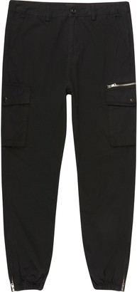 River Island Mens Big and Tall Black cargo trousers