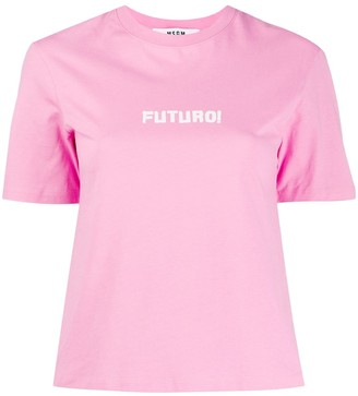 MSGM Futuro-print short sleeved T-shirt